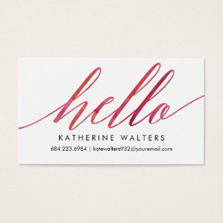 pink watercolor hello modern calling card