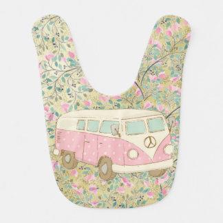 Pink Watercolor Hippy Van Flowers Gold Glitter Bib