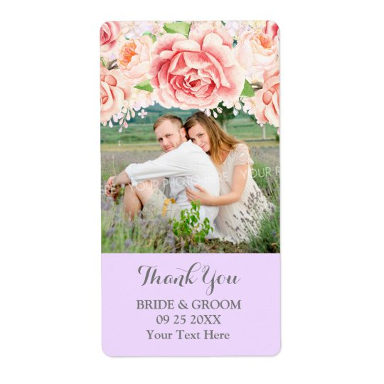 Pink Watercolor Lilac Photo Wedding Label