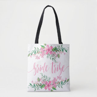Pink Watercolor Love Blossoms Wedding Bride Tribe Tote Bag