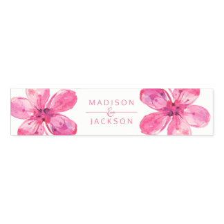 Pink Watercolor Love Blossoms Wedding Monogram Napkin Band