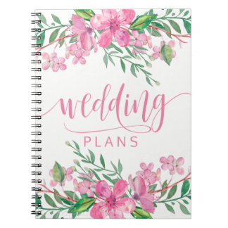 Pink Watercolor Love Blossoms Wedding Planner Spiral Note Book