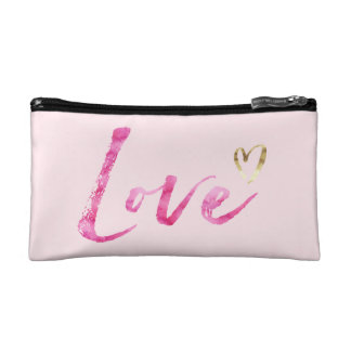 Pink Watercolor Love with Gold Heart Cosmetic Bag