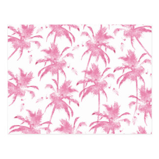Pink watercolor modern palm tree pattern postcard