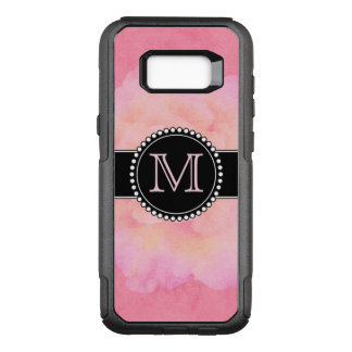 Pink Watercolor, Monogrammed OtterBox Commuter Samsung Galaxy S8+ Case