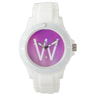 Pink Watercolor Ombre Monogram Watch