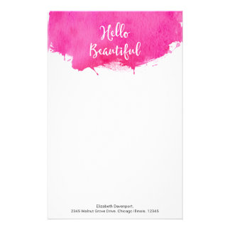 Pink Watercolor Paint Splatter Hello Beautiful Personalised Stationery