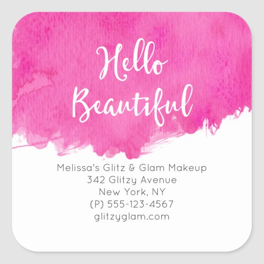 Pink Watercolor Paint Splatter Hello Beautiful Square Sticker