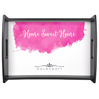 Pink Watercolor Paint Splatter Home Sweet Home Serving Tray