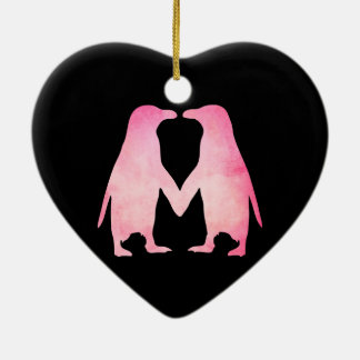 Pink watercolor penguins in love christmas ornament
