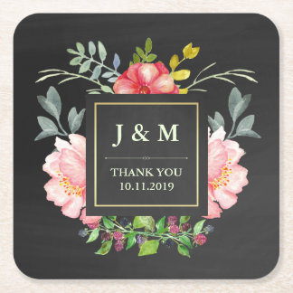 Pink Watercolor Peonies and Chalkboard | Wedding Square Paper Coaster