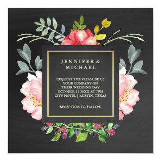 Pink Watercolor Peonies on Chalkboard Look Wedding Card