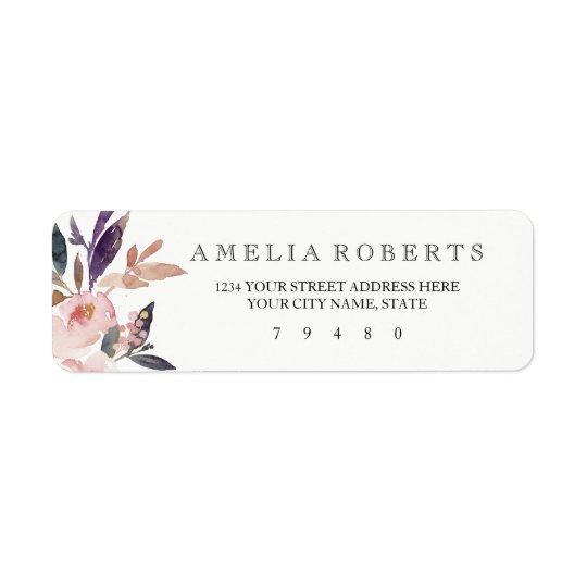 Pink Watercolor Peonies Return Address Label