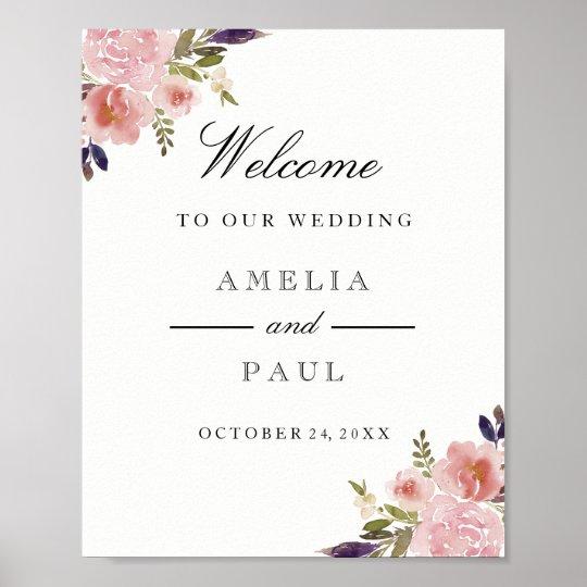 Pink Watercolor Peonies Welcome Wedding Sign