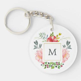 Pink Watercolor Peonies with Monogram Key Ring