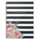 Pink Watercolor Peony & Charcoal Stripe Notebook
