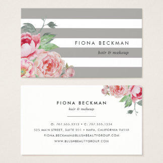 Pink Watercolor Peony & Gray Stripe Business Card
