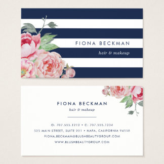 Pink Watercolor Peony & Navy Stripe Business Card