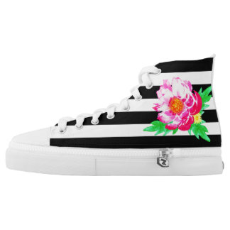 Pink Watercolor Peony On Black&White Shoes Printed Shoes
