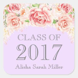 Pink Watercolor Purple Graduation Class of 2017 Square Sticker