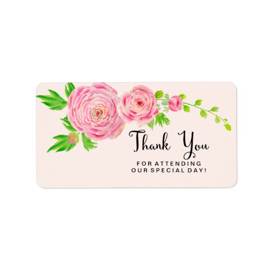 Pink Watercolor Ranunculus Thank You Labels