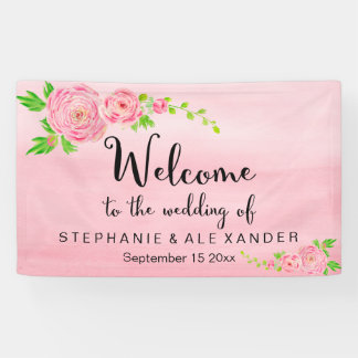Pink Watercolor Ranunculus Wedding Floral Banner