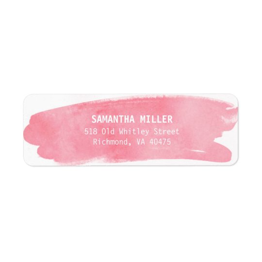 Pink Watercolor Return Address Labels