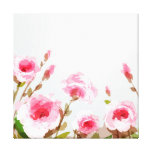pink watercolor rose floral boho bloom gallery wrapped canvas