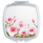 pink watercolor rose floral boho bloom makeup mirror