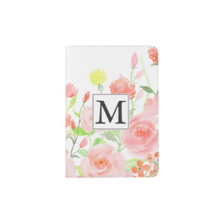 Pink Watercolor Roses Monogram Passport Holder