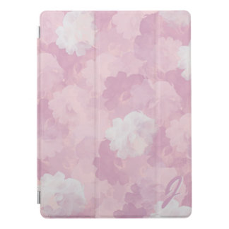 Pink Watercolor Roses Pattern Monogrammed iPad Pro Cover