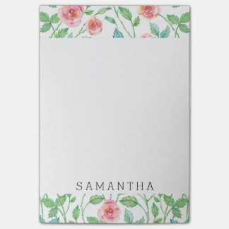 Pink Watercolor Roses Personalized Post-it Notes