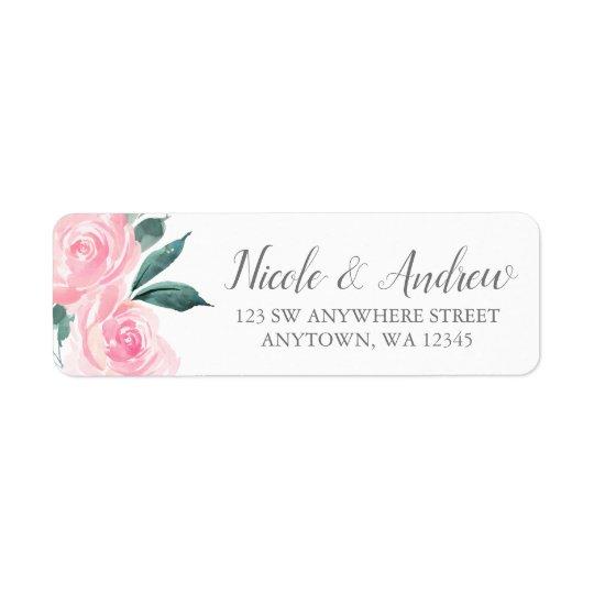 Pink Watercolor Roses Return Address