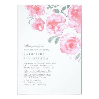 Pink Watercolor Roses Romantic Bridal Shower 13 Cm X 18 Cm Invitation Card