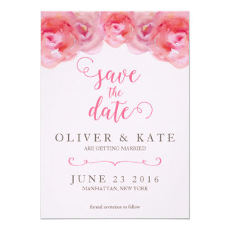 Pink Watercolor Roses Save the Date 13 Cm X 18 Cm Invitation Card