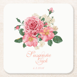 Pink Watercolor Roses Square Paper Coaster