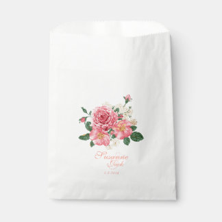 Pink Watercolor Roses Wedding Favour Bags