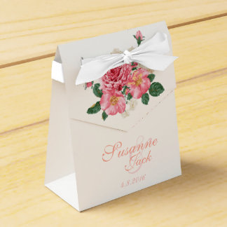 Pink Watercolor Roses Wedding Favour Box