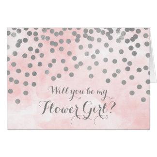 Pink Watercolor Silver Confetti Flower Girl Invite
