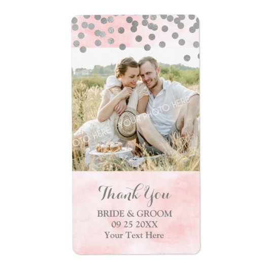 Pink Watercolor Silver Dots Photo Wedding Label