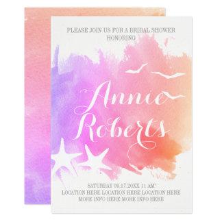 Pink watercolor, starfish wedding bridal shower card