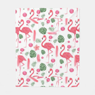 Pink watercolor tropical elegant flamingo floral fleece blanket