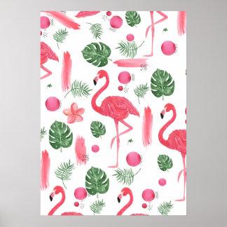 Pink watercolor tropical elegant flamingo floral poster