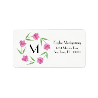 Pink Watercolor Tulips Framing Initial Label