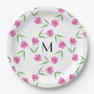 Pink Watercolor Tulips Framing Initial Paper Plate