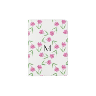 Pink Watercolor Tulips Framing Initial Passport Holder