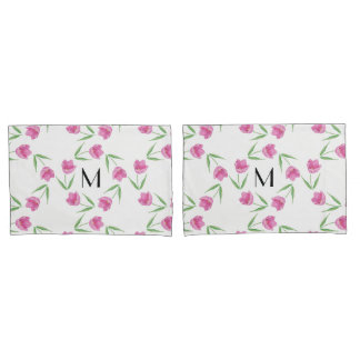 Pink Watercolor Tulips Framing Initial Pillowcase