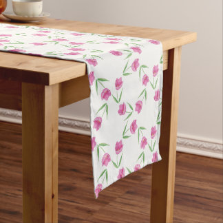 Pink Watercolor Tulips Pattern Medium Table Runner