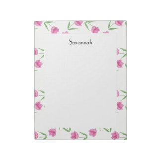 Pink Watercolor Tulips Pattern Notepad