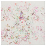 Pink watercolor vintage flowers pattern fabric